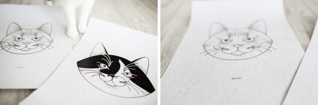 szkice kocie